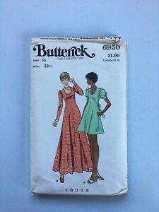 vintage butterick 6950 size 10 misses dress sewing pattern CUT
