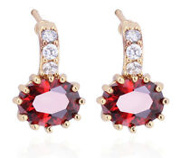Luxury 18 k Gold Plated Ruby Red Shiny Women Zircon Drop Stud Earrings E738