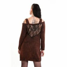 BNWT VIXXSIN CRAY OFF THE SHOULDER BROWN / NET TOP BOHO GOTH BIKER SIZE M , L XL