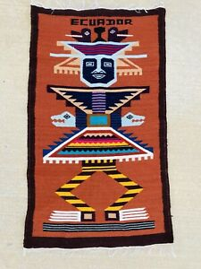 "Vintage Indian Tribal Wool Rug Blanket 40""x23"" Tapestry Mayan Aztec TIKI Ecuador"