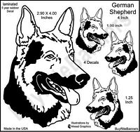 German Shepherd Laminated Decal Stickers, 4 Inch, 4 Count Size Variety Durable