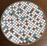 """Vintage MCM Mosaic Tile 10"""" Round Catch All Dish Grey, White, Red"""