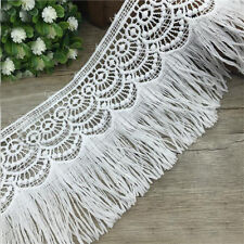 1 Yard White Embroidered Lace Trim Tassel Bridal Applique Dress Sewing Craft DIY