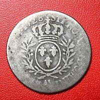 #1493 - RARE - Louis XV 1/5 écu aux branch d'olivier 1728 AA Metz - FACTURE