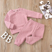 Toddler Baby Girls Boys Outfits Knit Sweater Tops Pants Tracksuit 2PCS Clothes