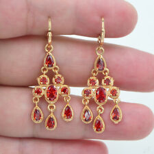 18K Yellow Gold Filled Red Topaz Palace Chandelier Dangle Wedding Earrings