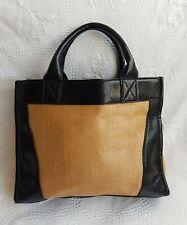 JOHN LEWIS Women's Beige/Black Straw Effect & Faux-Leather Tote HandBag. Medium