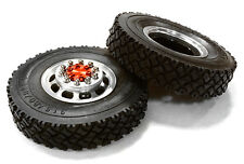 C26574RED Integy Alloy T5 F Wheel & XC Tire Set for Hex Type 1/14 Scale Trucks