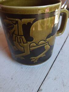 HORNSEA England Vintage Coffee Mug Cup-Ceramic-black/green-Welch Dragon