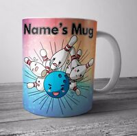 Ten Pin Bowling Themed Personalised Mug / Cup Birthday Christmas Gift - ANY NAME