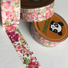 WASHI TAPE PRETTY IN PINK FLORAL 15MM WIDE X 10MTR ROLL PLAN CRAFT WRAP SCRAP