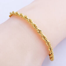 HOT SALE 4mm Rope chain bracelet Fashion jewelry Womens Bangle 14k Gold plated