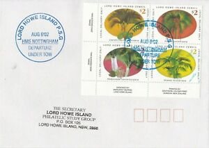 LH36) HMS. Nottingham departure under tow postmark on cover with Palms block 4