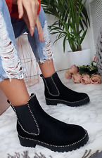 Womens Ladies Chunky Flat Low Heel Biker Punk Stud Chelsea Ankle Boot Shoes Size