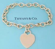 "Tiffany & Co Vintage 18K Yellow Gold Heart Tag Bracelet 27.8 Grams 7.5"" Long"