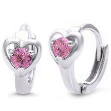 Pink Cubic Zirconia Heart Huggie  .925 Sterling Silver Hoop Earring