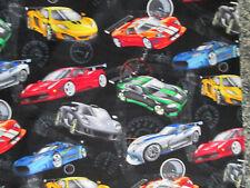 RACE CAR RACING CARS NASCAR ODEMETER GRAND PRIX BLK COTTON FABRIC 5 1/2 IN SCRAP