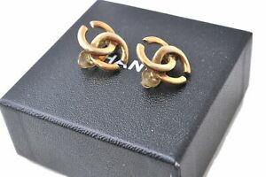 Authentic CHANEL Clip-On Earrings Gold Plated CC Box E1193