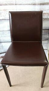 Walnut Brown Colour Faux Leather Dining Chairs