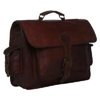 Unisex Vintage Genuine Leather Satchel Shoulder Laptop Bag Messenger Briefcase