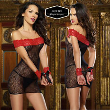 SEXY Lingerie Red BLACK Handcuff PLAY SET Babydoll G-string SUMMER ROMANTIC WEAR