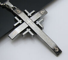 Free Unisex's Bead chain Black Titanium Steel Bible Cross Pendant Necklace Gift