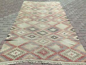 """Vintage Turkish Kilim Rug, Area Rugs, Large Rug, Anatolian Kelim 67""""x116"""" Carpet"""