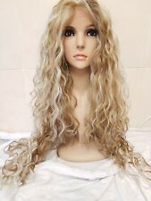 Swiss lace, blonde human hair wig, hand knotted, lace frontal wig, perm, afro