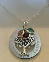 Personalised Engraved family tree pendant necklace gift for mum choose names dot