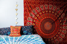 Red Mandala Tapestry Indian Hippie Wall Hanging Tapestry Beach Throw 55*86 Sheet