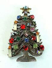 Vintage Signed WEISS COSTUME Jewelry CHRISTMAS TREE 3 Candle PIN BROOCH HTF