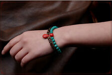Thai Green and Red Turquoise, Wood and Copper Beads Double-Layers Bracelet