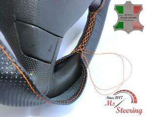 FOR VW TRANSPORTER T5 03-09 - BLACK PERF LEATHER STEERING WHEEL COVER ORANGE STI
