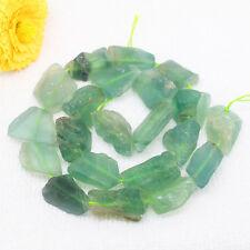 "10-22mm Natural Green Fluorite Freeform Beads 16"""
