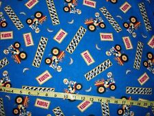711 Kids at play Monkeys on blue Flannel Material New Sold by ¼ yards