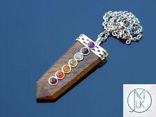 Tigers Eye 7 Chakra Flat Natural Gemstone Pendant Necklace 50cm Healing Stone