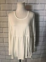 NWT Style & Co Top Blouse Sz PXL White Ivory Long Sleeve Tunic Top Lace Slv $44