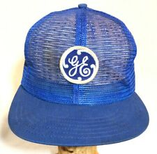 General Electric GE Blue All Mesh Trucker Snapback Hat Vintage Logo Patch