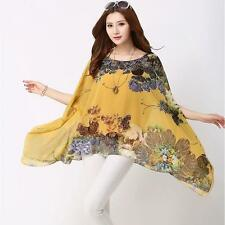 Unbranded Chiffon Kimono Sleeve Floral Women's Tops & Blouses