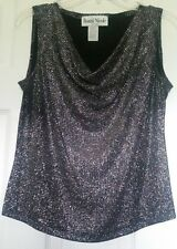 Ronni Nicole Black with Silver Shimmer Sleeveless Holiday Top Women's M  NEW