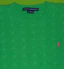 Ralph Lauren Green Cable Knit Sweater Pink Pony 100% Lambswool L/S Women Medium