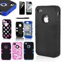 For iPhone 4 / 4S Black Rugged Rubber Matte Hard Case Cover w/ Screen Protect
