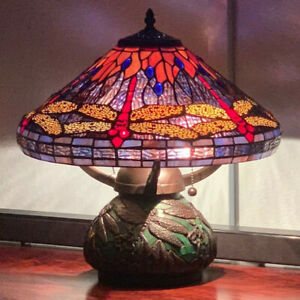 Tiffany Style Red Dragonfly Stained Glass Table Reading Lamp - Purple and Orange