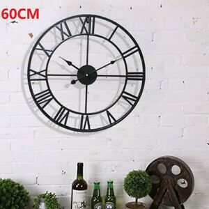 60CM ROUND EXTRA LARGE ROMAN NUMERALS SKELETON WALL CLOCK BIG GIANT OPEN FACE