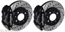 Wilwood DPHA Front Brake Caliper Drilled Slotted Rotor Kit Black 92-00 Civic EX