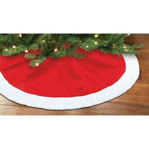 """Tree Skirt Plush, Red & White 48"""" Christmas Treeskirt by Holiday Time NEW"""