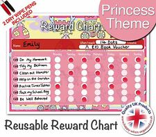 Easy to Use & Reusable Princess Child Reward Behaviour Chart Girls - 2 Pens