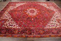 10'x13' Geometric Heriz Oriental Area Rug Wool Hand-Knotted Medallion Carpet