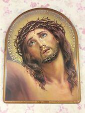 Quadro Sacro Con Cornice Oro Il Volto Di Cristo Misure 61x81cm Altri Complementi D'arredo