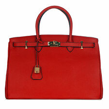 ROUVEN Rubin Rouge Rot & Gold ICONE 40 Tote Bag Leder Handtasche Henkeltasche